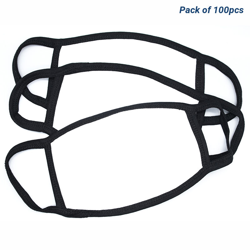Blank Sublimation Black Trim Fabric Face Masks - Pack Of 100pcs