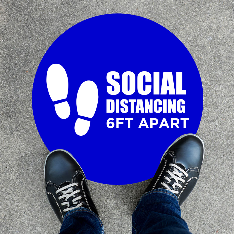 6ft Apart Round Social Distancing Stickers
