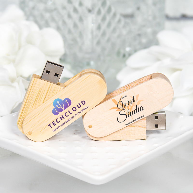 Custom Wood Swivel USB Flash Drives
