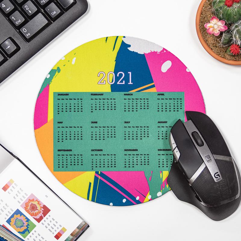 Fluorescent Neon 2021 Calendar Circle Mouse Pads