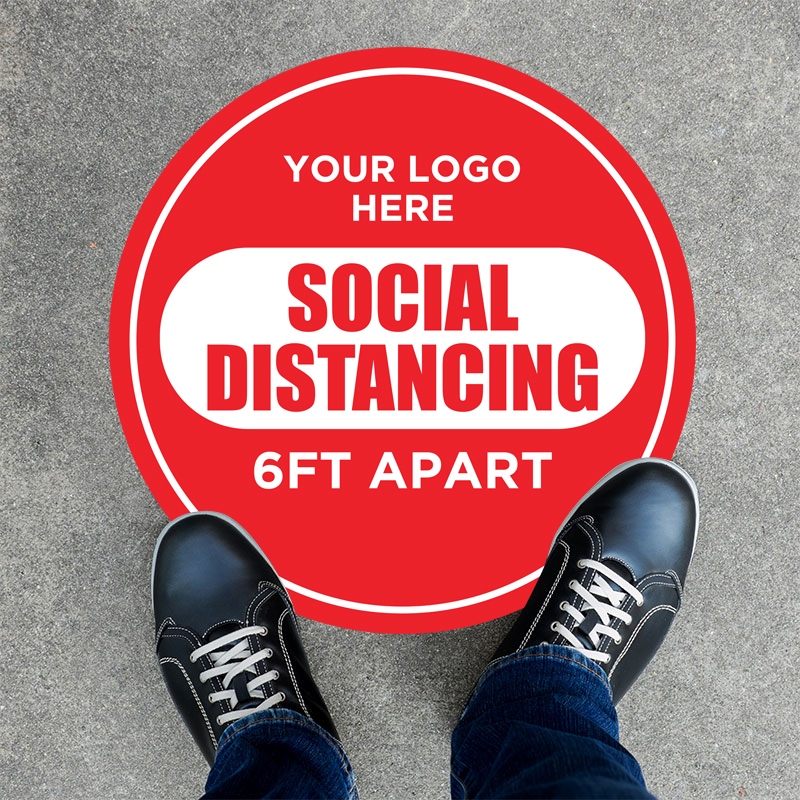 Social Distancing Round Floor Graphic Stickers