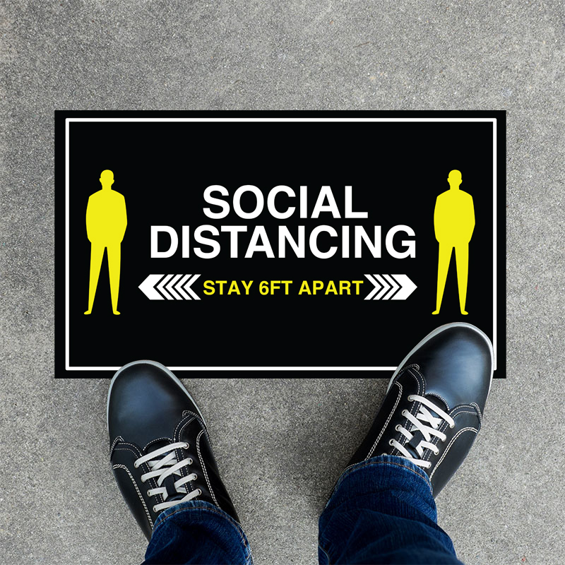 Stay Apart Rectangle Social Distancing Stickers