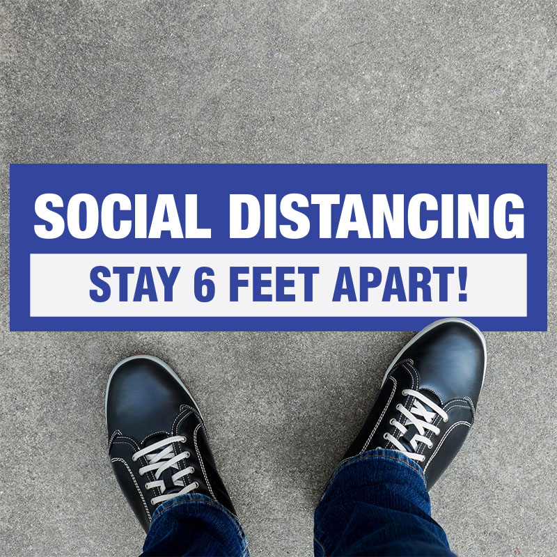 Stay Safe 6 Feet Apart Rectangle Floor Decals