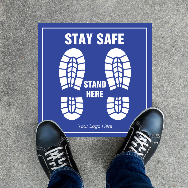 Stay Safe Social Distancing Square Floor Decals