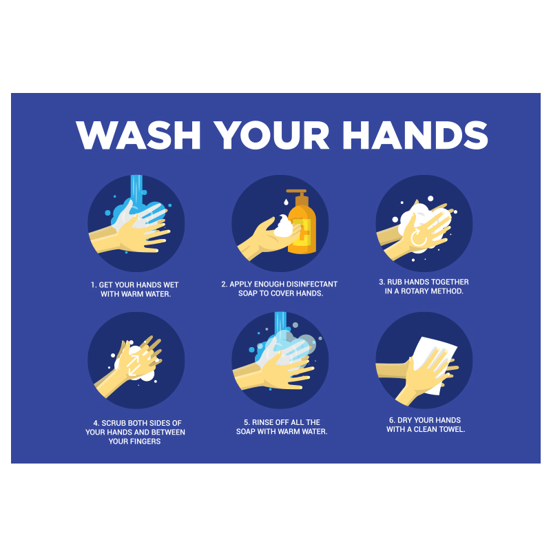 Wash Your Hands Instructional Stickers